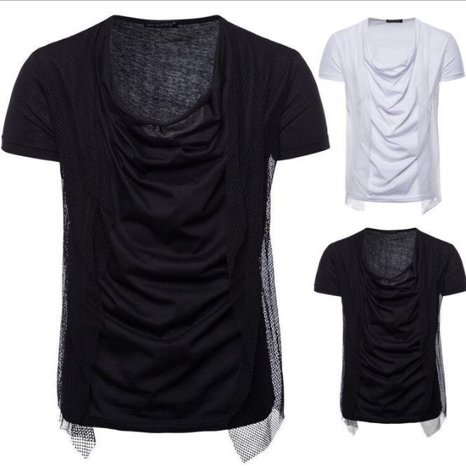Mens 2020 de luxe de T-shirt d'été à manches courtes T-shirts col Stacker Netting lambrissé Tops Vêtements Homme