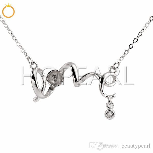 Letter Love Pendant Dangle with One Tiny Zircon 925 Sterling Silver Pearl Settings Necklace Blank 3 Pieces