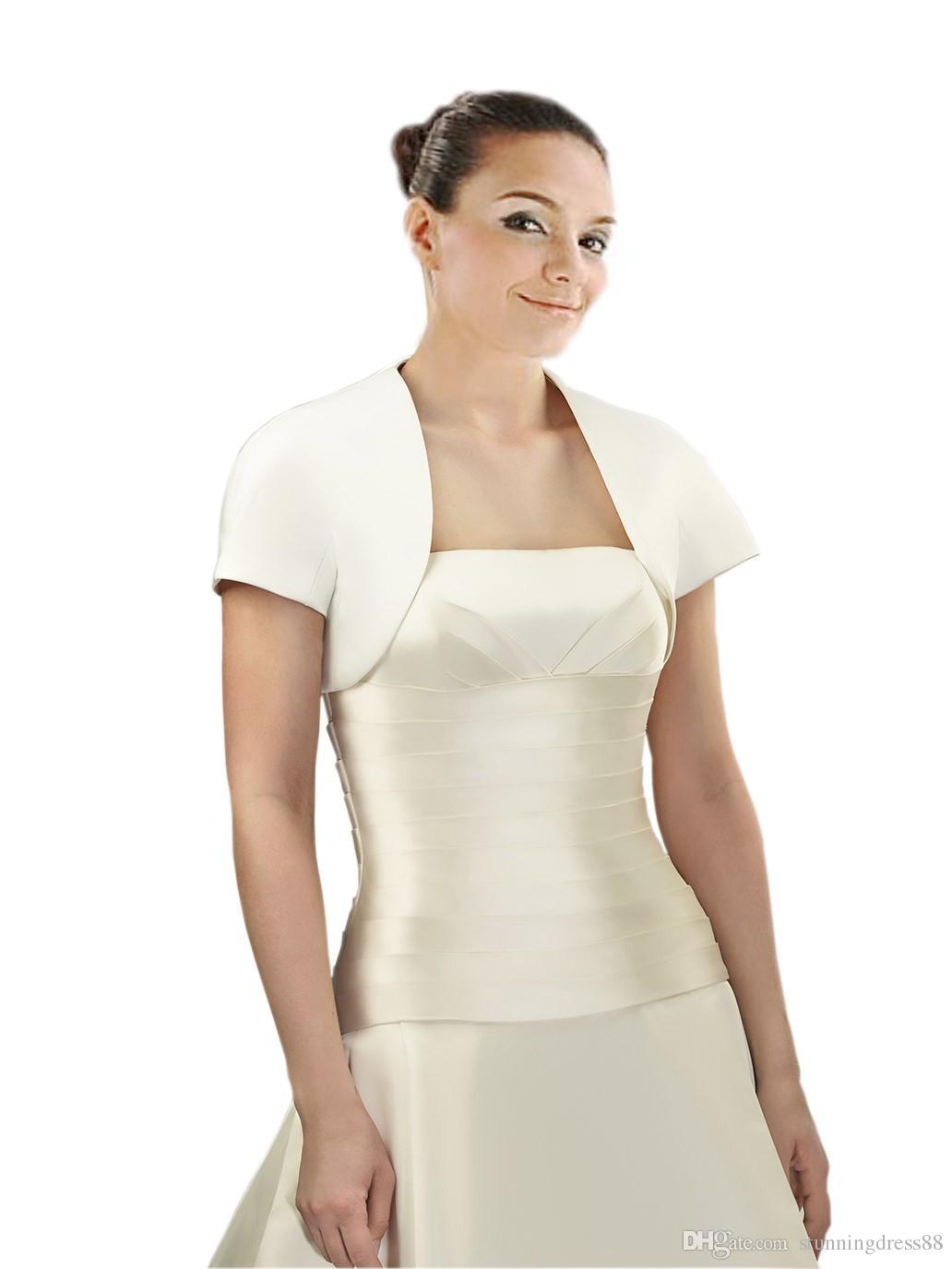 Free Shipping Cheap Wedding Bridal Jackets Bolero Short sleeves Satin Simple Designer Wedding Wrap For Wedding Dress Gowns Plus size