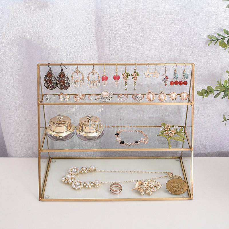 [DDisplay] Vintage Glass Jewelry Stand Pendientes de tres capas Organizador Glass Stand Creative Necklace Display Window