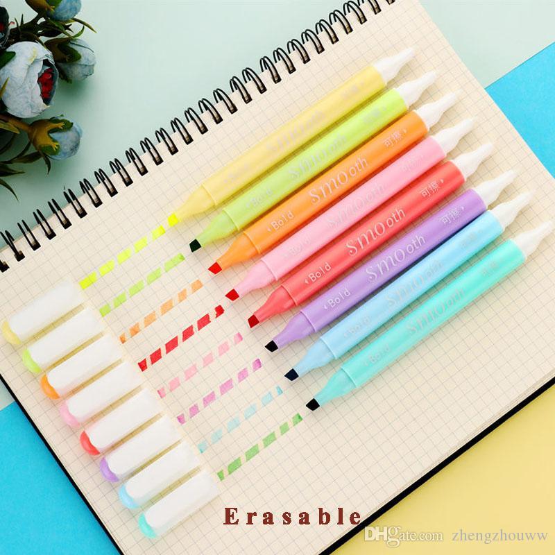 Erasable double head Highlighters Art markers Highlighter Pen fluorecent pen School supplies office #YYT5