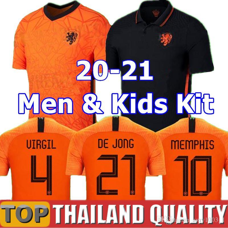 2019 2020 Netherlands Holland camisas de futebol 19 DE JONG Holanda kits de futebol camiseta DE LIGT VAN DIJK VIRGIL STROOTMAN MEMPHIS PROMES