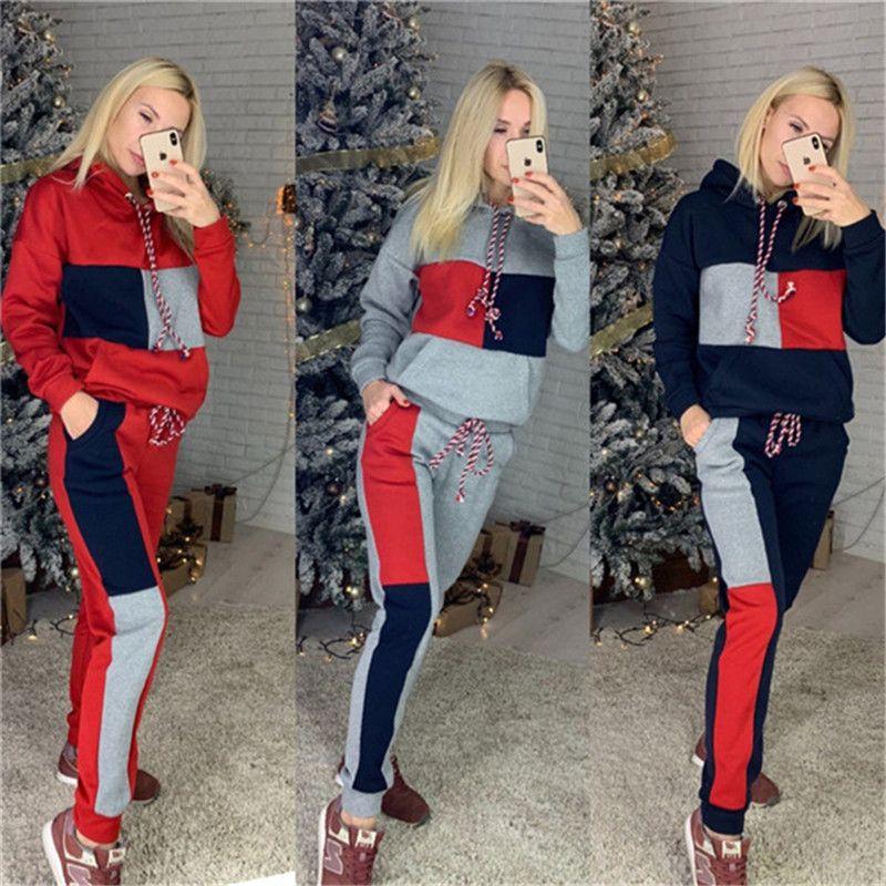 Tute da donna firmate Tute sportive con cappuccio a manica lunga con risvolto maniche lunghe autunno e inverno Moda sportiva Abbigliamento sportivo