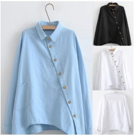 2020 Queda de Moda Casual Blusas camisas das mulheres cor sólida Mulheres manga comprida Blusas e Tops Collar de inclinação do escritório Camisas Casual