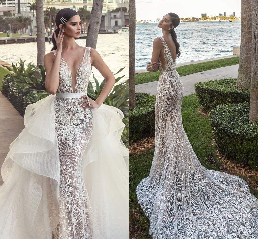 2020 White Country Style Sereia Vestidos De Casamento Vestidos Lantejoulas Tiered Ruffles Court Train Plus Size formal vestidos nupciais Vestidos de Novia