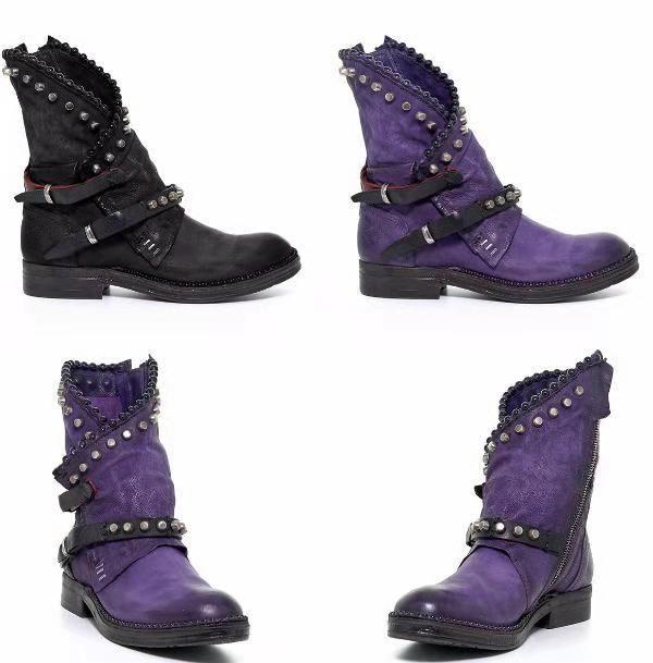 bota de moto US4-11 retro mujeres botas de invierno hebilla Zapatos planos tobillo de la manera del remache Caballero Botas ocasional más tamaño EU43 púrpura, Negro V