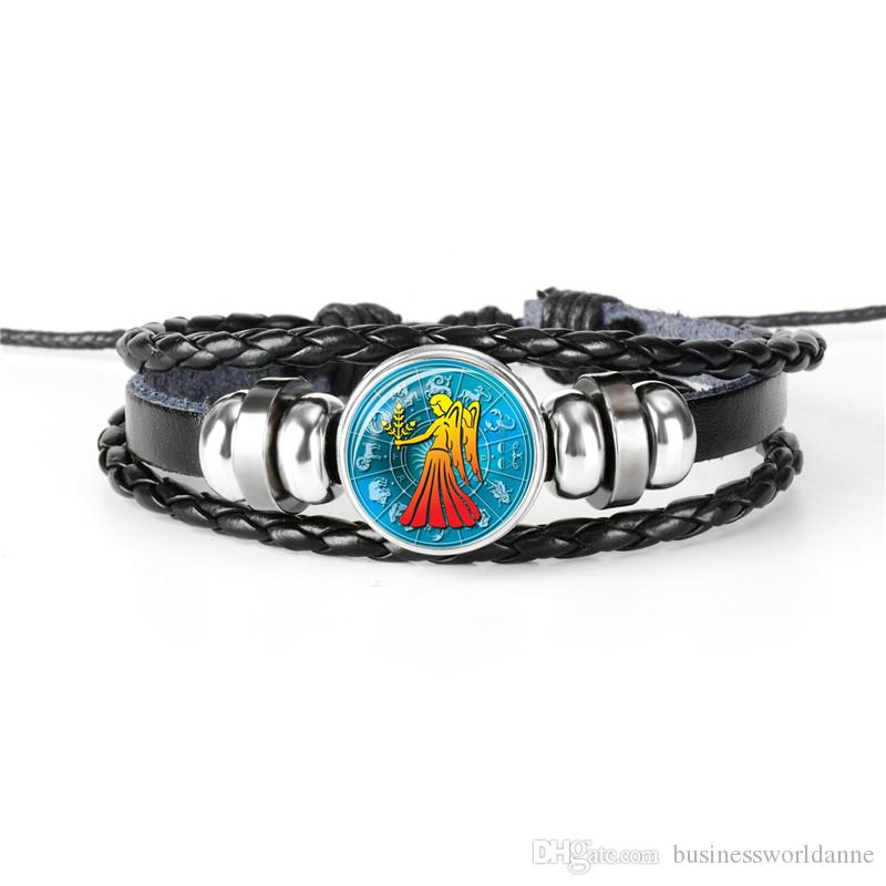 Fashion 12 Horoscope Zodiac Virgo Time Gem Glass Cabochon Charm Bracelet For Women Men Genuine Leather Rope Beaded Silver Party Jewelry Gift