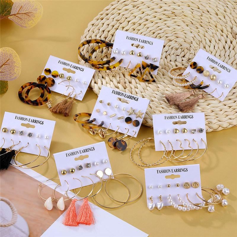 Bohemian Long Tassel Acrylic Earrings For Women Fashion Big Geometric Heart Flower Pearl Crystal Earrings Set Jewelry Wholesale
