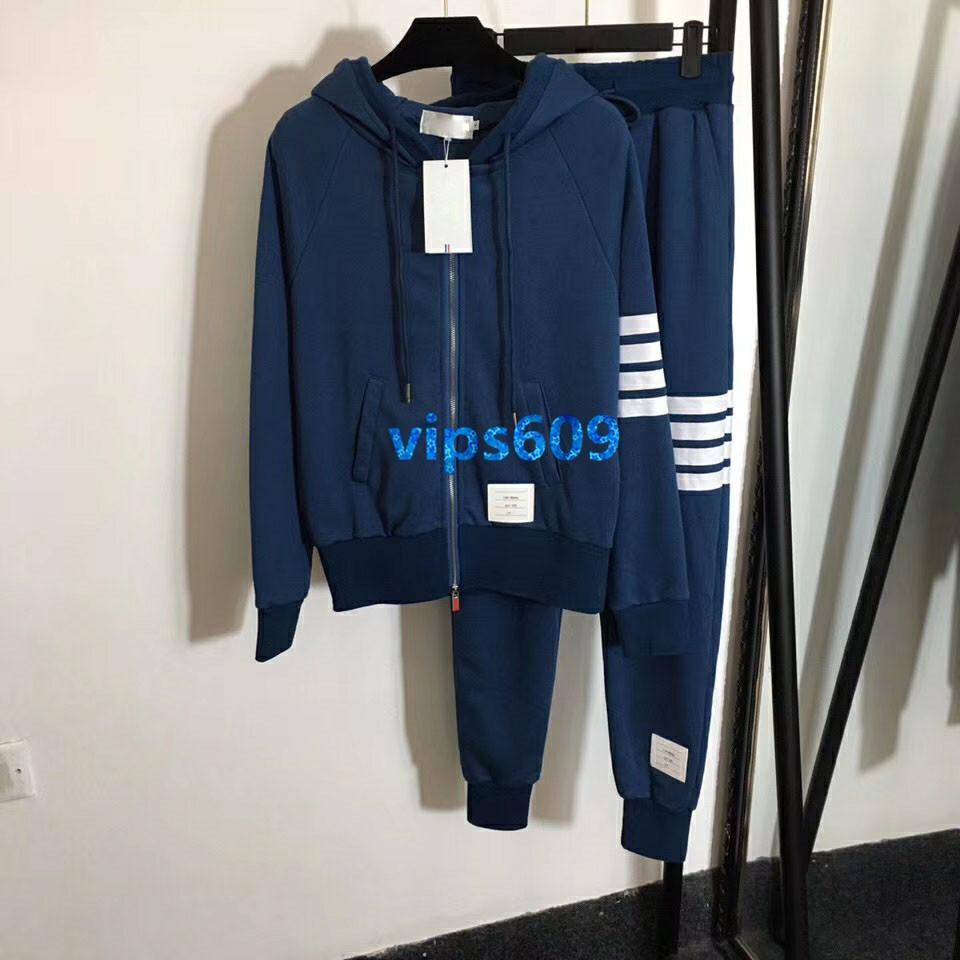 2020 femmes Haut de Gamme filles tricotées pantalon col capuche Outfit longue fermeture éclair manteau chandail et un pantalon de loisirs Outfit