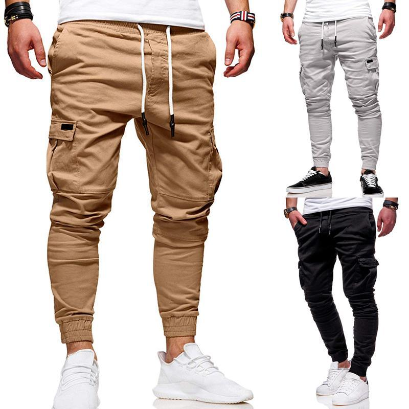 Men 'S Slim Fit Ankle -Tied Pencil Pants Joggers Trousers Male Casaul Drawstring Side Pockets Harem Pants Solid Sportswear Size M-3XL