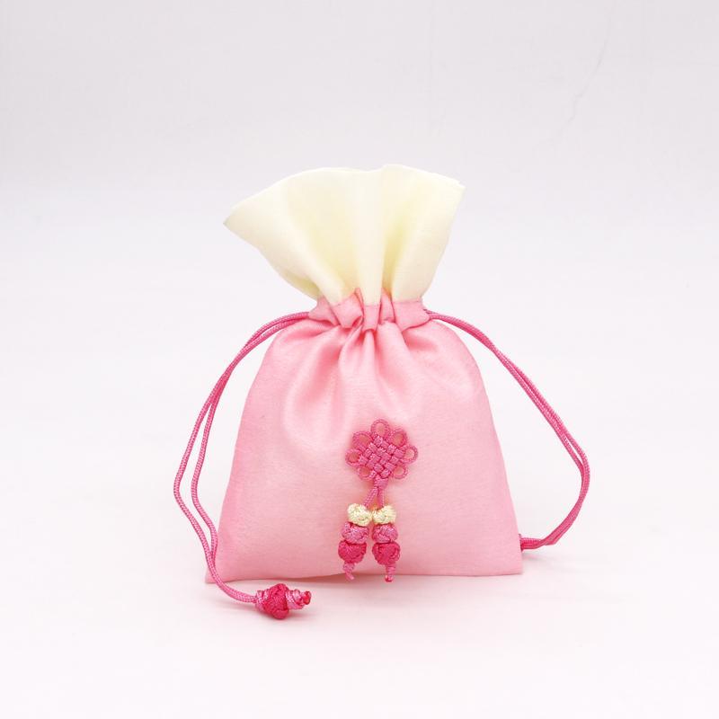 ¡NUEVO! 5pcs / lot de la joyería bolsas de satén suave Drawable 10x15cm bolsas rosa de la moda con el nudo chino para el partido del regalo de la pulsera de paquete