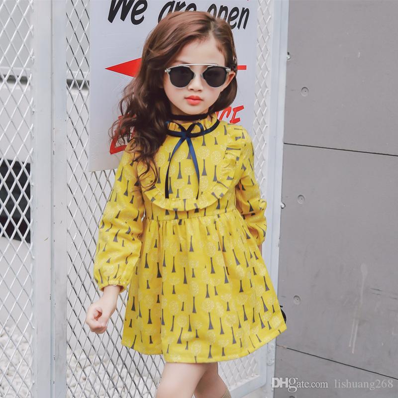 Niñas vestido floral salvaje vestido bohemio 2019 primavera verano niños de manga larga vestidos de playa de moda princesa imprimir vestido de bola 2-7Y