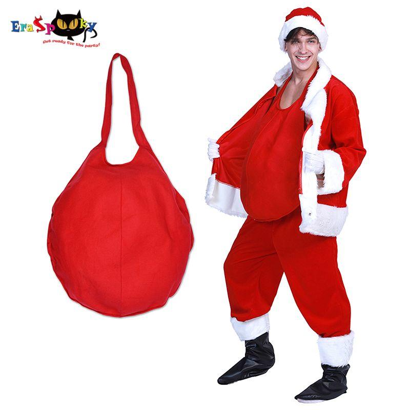 Eraspooky Red Mens Babbo Natale Belly Cosplay Costume di Natale Adulto Vaso Pancia Babbo Natale Carnevale Accessori per feste