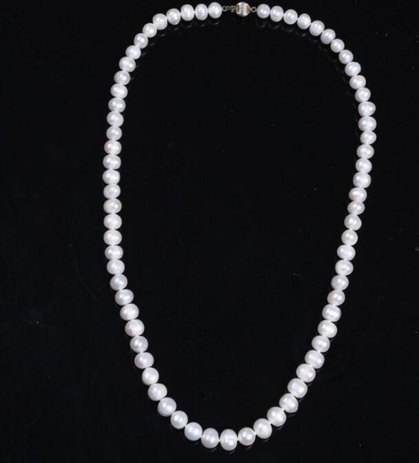 LIVRAISON GRATUITE ! + + 7-8MM atmosphère douce et naturelle simple collier de perles d'eau douce naturelles collier 59CM