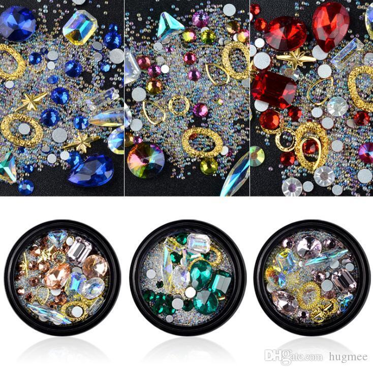 HugMee Nail Art gioielli con diamanti fondo a punta a forma di diamante trasparente ab di cristallo del vetro Diamond Jewelry M0019