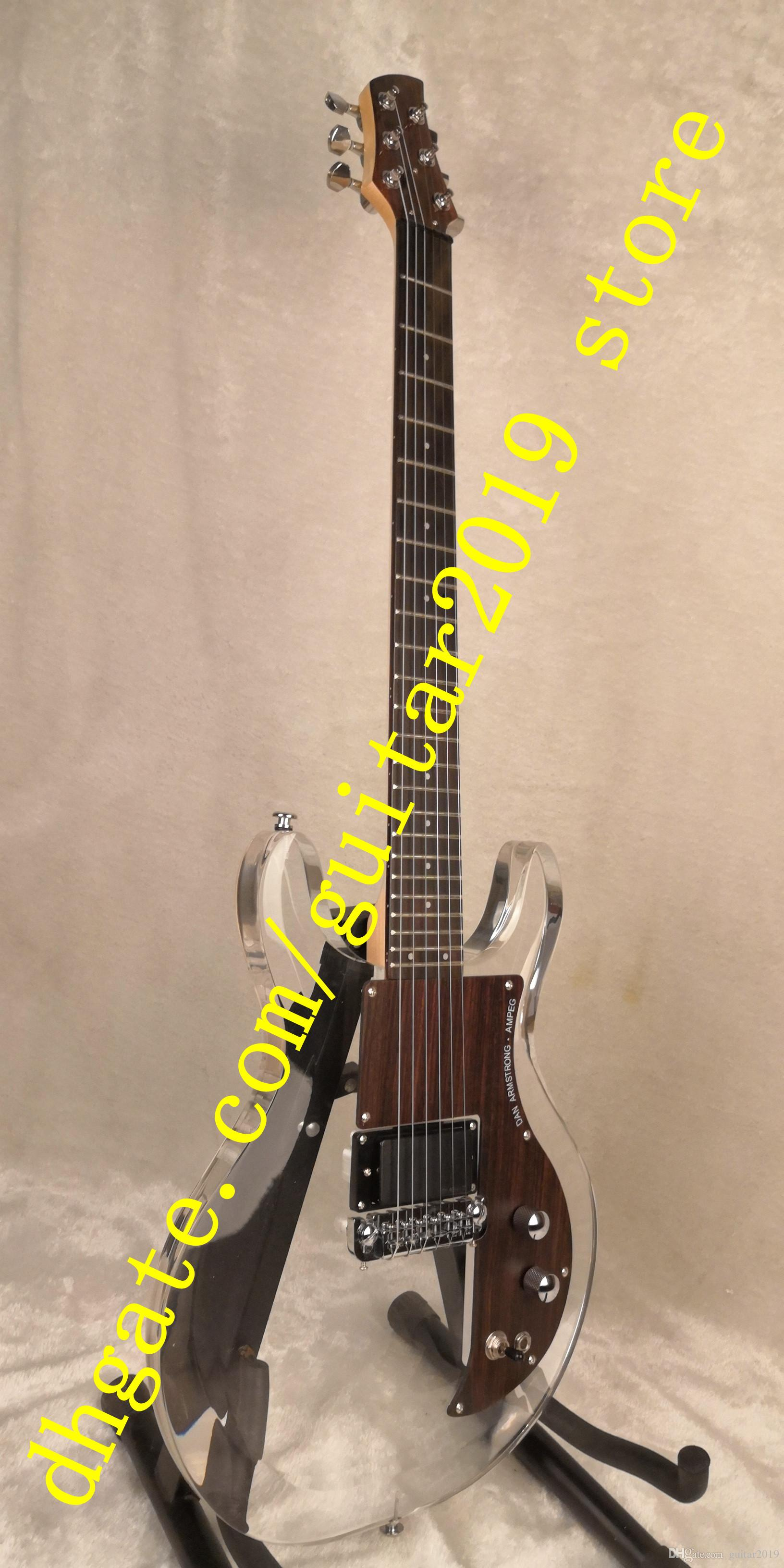 China 6 string guitar acrylic body and maple neck Silver hardware rosewood guard electric guitar free shipping