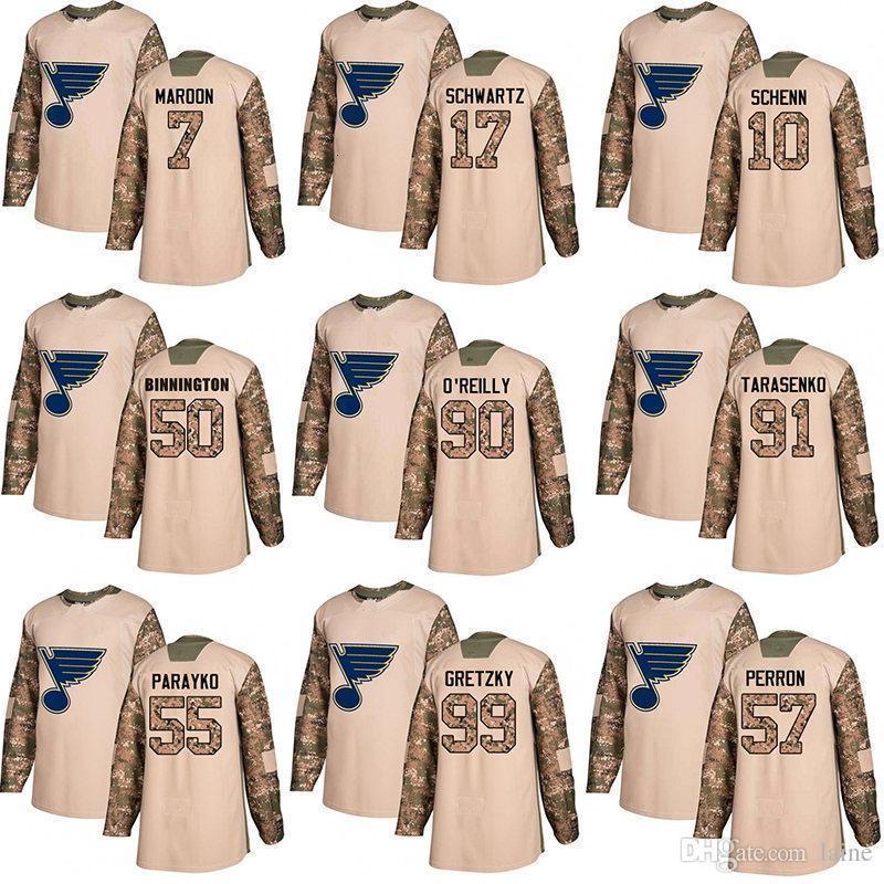 Homens s St. Louis Blues 90 Ryan O Reilly 91 Vladimir 50 Binnington Camo Autêntico camisola do hóquei do dia dos veteranos costurado