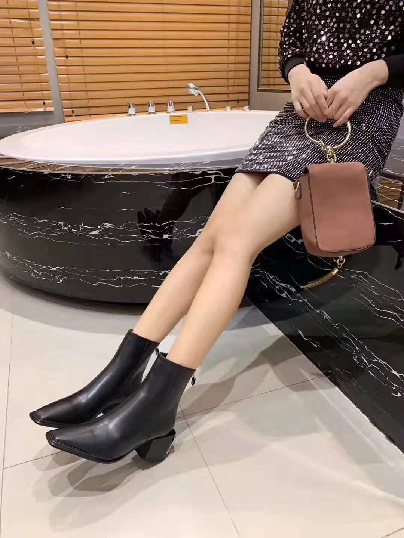 donne calde di vendita-progettista stivali da cowboy nero di moda Martin caviglia scarpe stivali neri Talon signore fase pattini piani del tallone