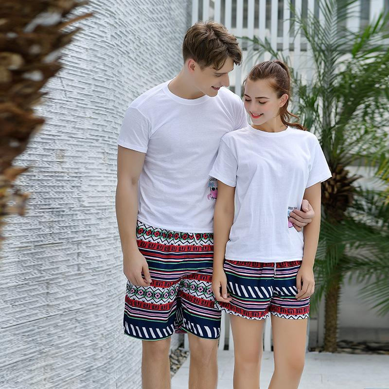 Women Men Summer Fashion Totem Vacation Couple Beach Swimming Surfing Matching Bermudas Pants Wear Lover Shorts Clothes family outfits uw8