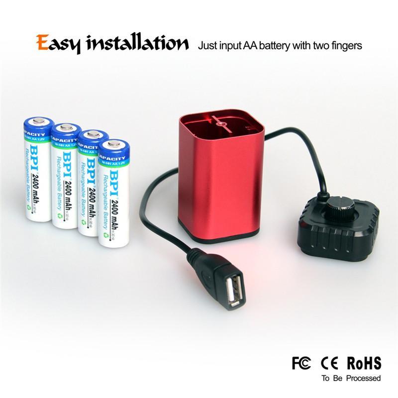 야외 자전거 8.4V USB 5V 6x18650 방수 배터리 케이스 하우스 커버 박스 자전거 자전거 Light1