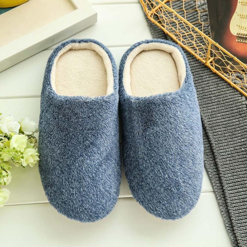 Calentar los hombres zapatos de los deslizadores Inicio sólidos antideslizante suave invierno zapatillas de casa de los amantes del dormitorio interior Parejas piso Zapatos # 3
