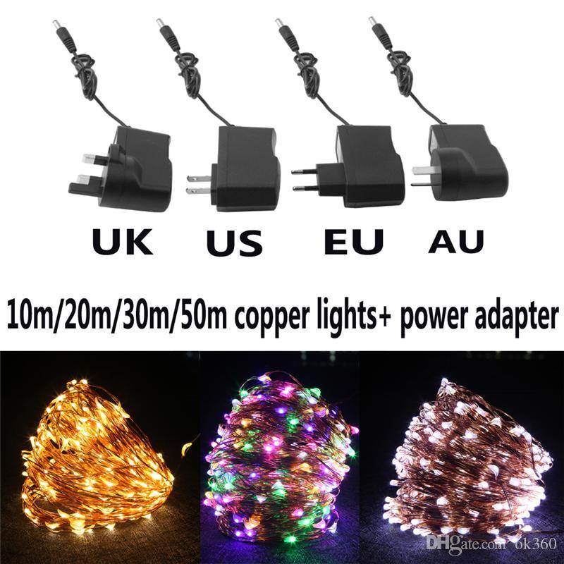 10M 20M 30M 50M fio de cobre Pisca-Pisca LED prova d'água decorativos de Luzes estrelado com Power Adapter (Reino Unido, EUA, UE, UA ficha)