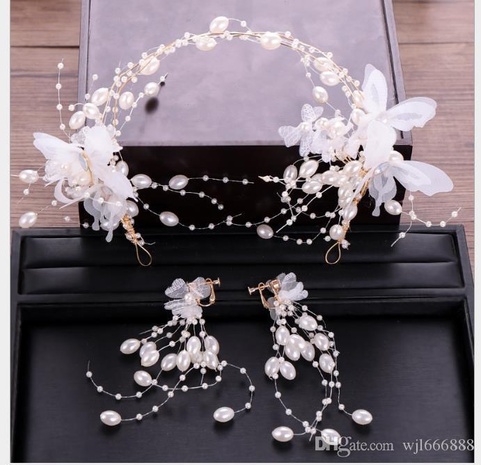 Kore çiçek kelebek saç çember küpe set inci küpe saç çember gelinlik aksesuarları gelin headdress