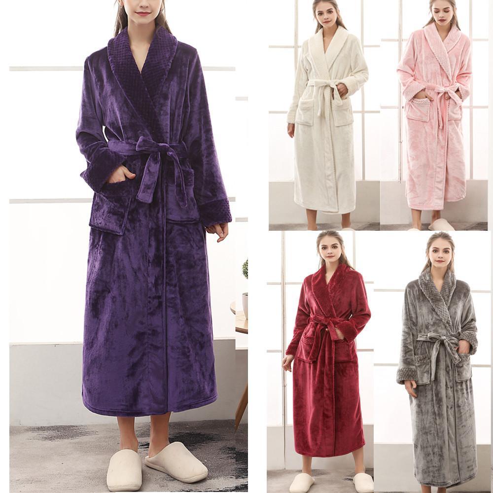 Gece elbisesi kadınlar bornoz pamuk elbise Kadın Kış uzatılmıştır CORALLINE Peluş Şal Bornoz Uzun kollu Robe Coat T200111