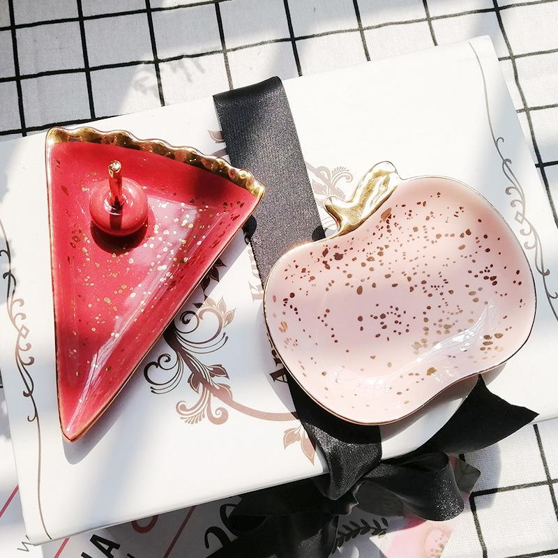 1 шт Nordic Малого ювелирных изделий Блюда керамического Арбуз яблоко серьга ожерелье кольцо хранение Планшеты фрукты Дисплей Bowl Декор