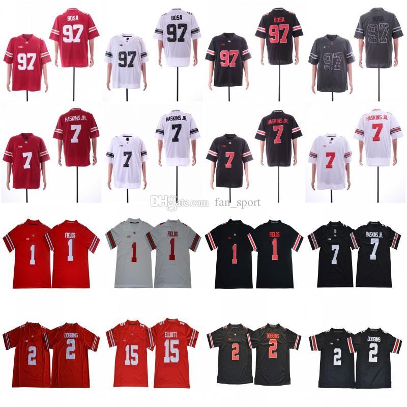 2019 오하이오 주 uckeyes # 1 저스틴 필드 # 2 JK Dobbins # 7 Dwayne Haskins Jr. # 97 Nick Bosa # 15 Elliott Osu Rose Bowl Jerseys