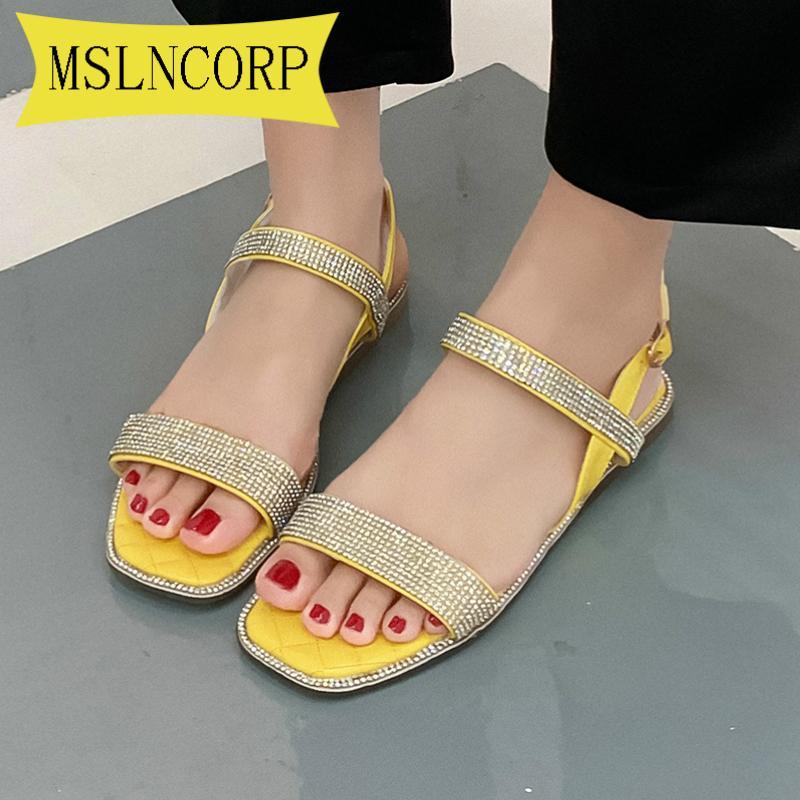 Plus Size 34-46 Boho Bohemian National strass Cristal Diamante sapatas lisas Mulheres Sandálias do verão étnicas Praia Sapatos casuais