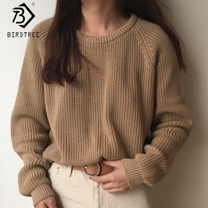 Knitting Sweater coreano modo delle signore completa Maglia a manica Solid O-Neck Pullover e Jumper allentato maglione caldo di vendita S80209Q CJ1191109