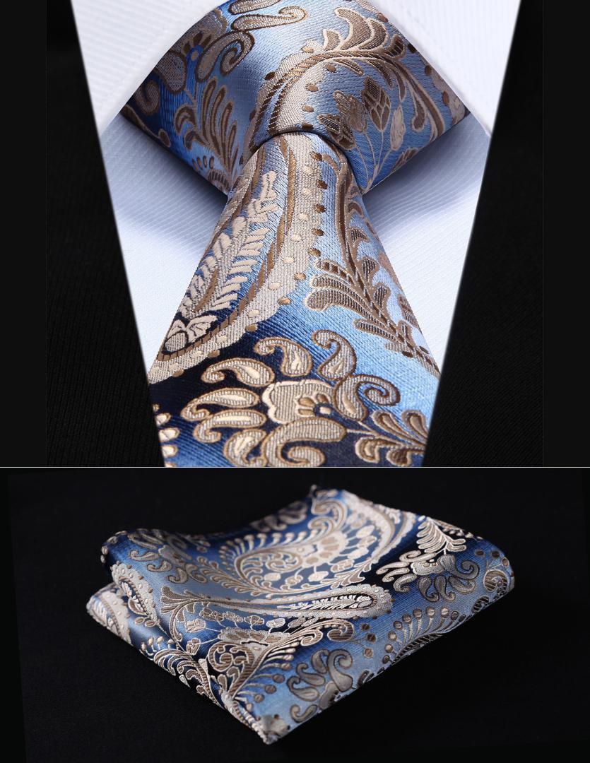 """Plaza de bolsillo clásico del banquete de boda del lazo TP908Z7S Paisley del oro de Brown 2.75"""" Hombres seda tejida corbata del lazo del pañuelo Conjunto"""