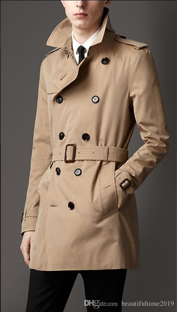 جديد أزياء الرجال الشتاء الطويلة معاطف صالح سليم الرجال خندق معطف عارضة الرجال مزدوج اعتلى خندق معطف نمط المملكة المتحدة وأبلى الشحن المجاني
