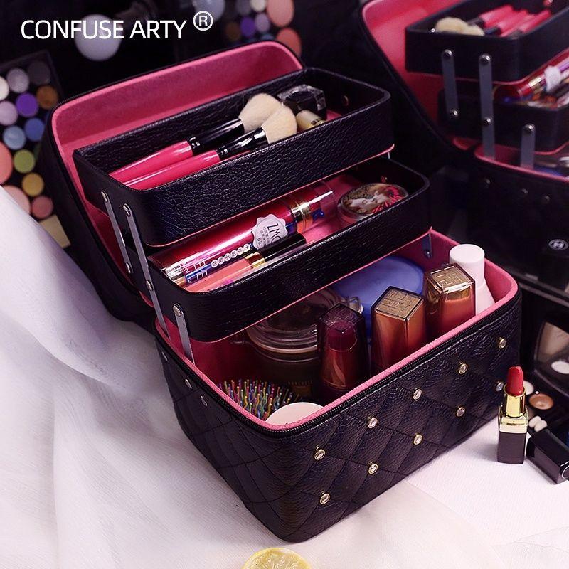 Borsa per il trucco di alta qualità Bella scatola cosmetica per donna Strati pieghevoli casuali Custodia da viaggio professionale Valigia grande capacità J190715