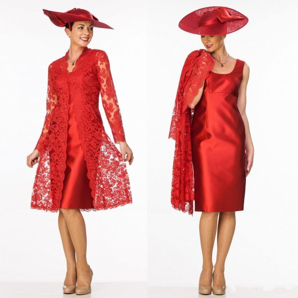 großhandel rotes kleid aus spitze von 2019 im griechischen stil, mutter der  braut mit jacke, u ausschnitt, u ausschnitt, knielangen cocktailkleid für