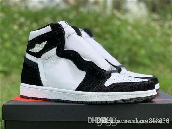 Горячей продажи высокое ОГ просто замечательно баскетбол обувь 1 1С Панда цвет мужские черный белый Спорт на открытом воздухе кроссовки
