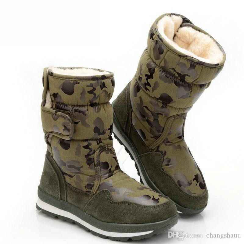 Зимние детские ботинки снега теплой шерсти плюша Девушки Мартин сапоги -30 градусов армии мальчиков Обувь водонепроницаемая Детские сапоги