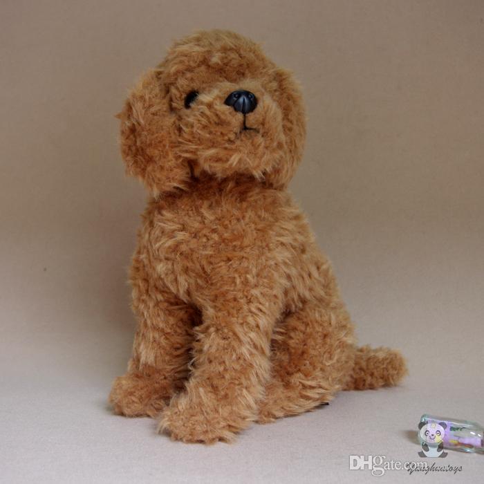 Real Life Teddy Hund Welpen Plüschtiere Tierpuppe Extrusion Ton Brown Sitzen