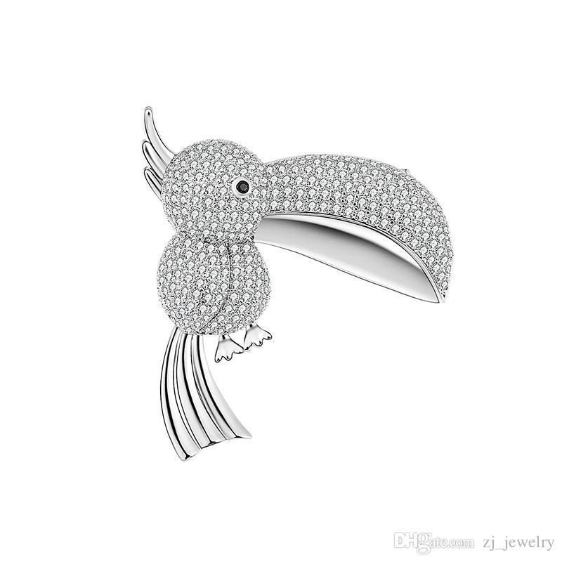 Geschenk Cartoon Persönlichkeit Kupfer Brosche Nette Big Mouth Sparrow Elster Vogel Kupfer Zirkon Brosche Hochwertigen Modeschmuck