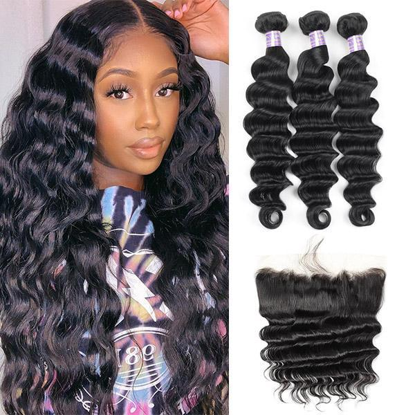Ishow Brazilian Body Wave 3/4 Bundles with Lace Frontal Peruvian Loose Deep Kinky Curly Human Hair Bundles with Closure Straight Water