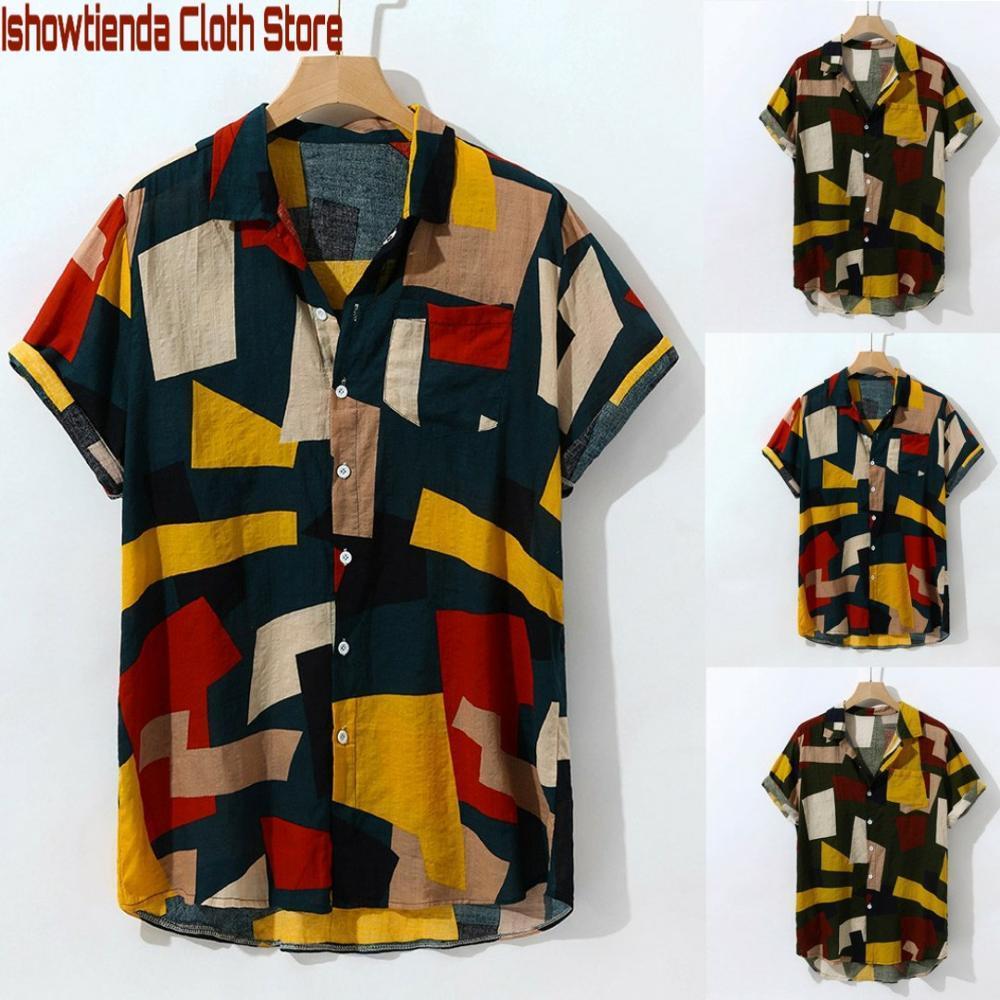 Camicie casual da uomo IshowTIENDA 2021 Arrivo Estate Moda stampa Hawaiian Slip Sleeve Sleeve Buttons Blusa Camicia da Uomo Nuova