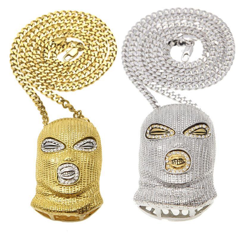 Cs Kopfmaske Halskette Silber Gold Kopfbedeckung Anhänger Ketten Mode Hip Hop Schmuck Für Männer Frauen Drop Shipping