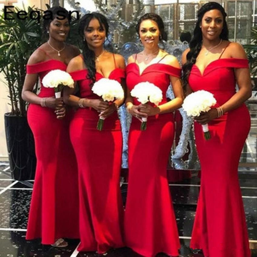 Weg von der Schulter plus Größen Afrikanische Brautjungfernkleider Red Mermaid Spaghettii mit Rüschen besetzten langen Zeitsgast Maid of Honor Kleider