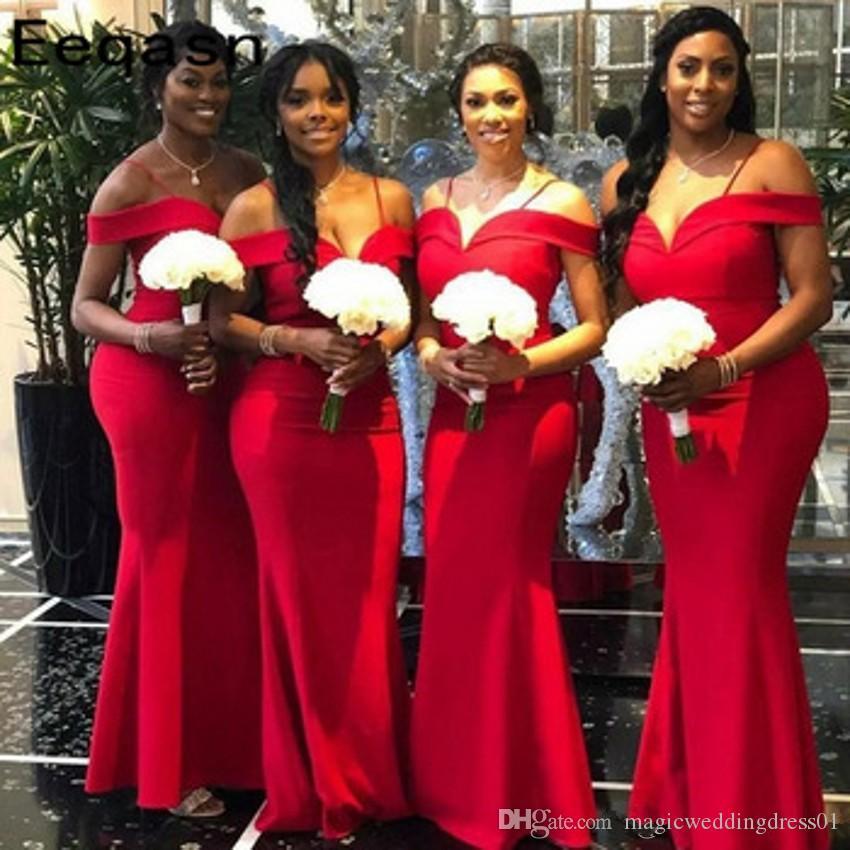 Fuera del hombro más el tamaño de vestidos de dama africana Rojo sirena Spaghettii acanalada largo huésped de la boda Vestidos de dama de honor