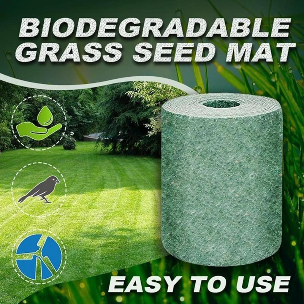 العشب البذور حصيرة لفة 10FT القابلة للتحلل العشب ينمو حصيرة نزهة حديقة الفناء زراعة النباتات الحل لمروج الكلب الرقع والشمس الظل فقط