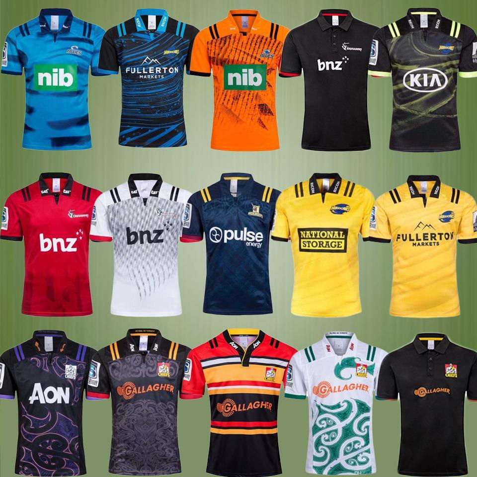 New 2019 2020 Chiefs 슈퍼 럭비 저지 뉴질랜드 슈퍼 성인 남성 Chiefs Blues 허리케인 크루 세이더 Highlanders 2019 럭비 유니폼 셔츠