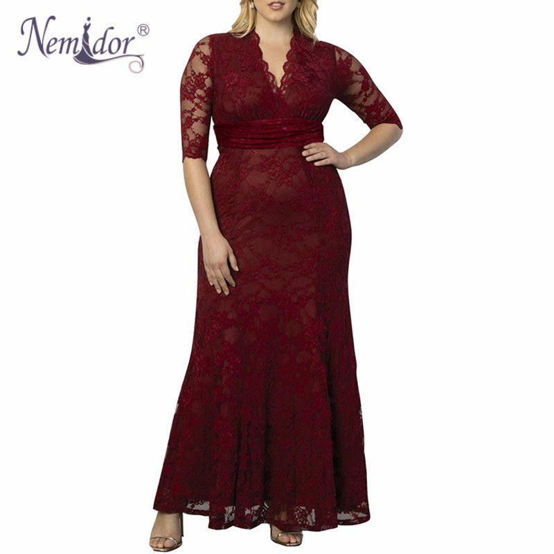 Nemidor Hohe Qualität Frauen Sexy Tiefem V-ausschnitt Party Elegante Spitzenkleid Vintage Halbe Hülse 7XL 8XL 9XL Plus Größe Lange Maxi Kleid T190610
