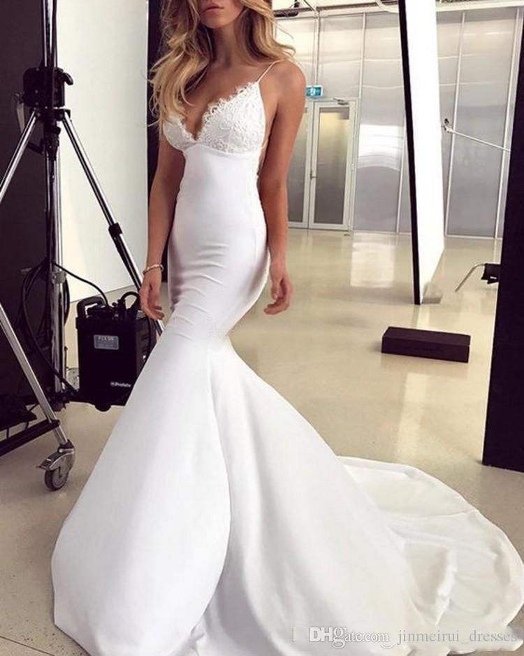 2019 modern cheap plus size mermaid wedding dresses bridal gowns Deep V Neck Backless Lace Spandex