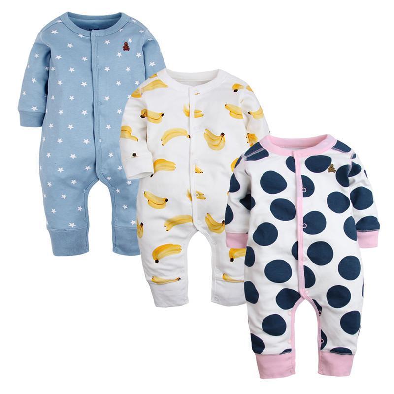 3 Pcs Nova Marca Rompers Mangas Compridas Roupas de Algodão Recém-nascido Moda Dos Desenhos Animados Impresso Pijama Roupa Infantil Do Bebê Q190520